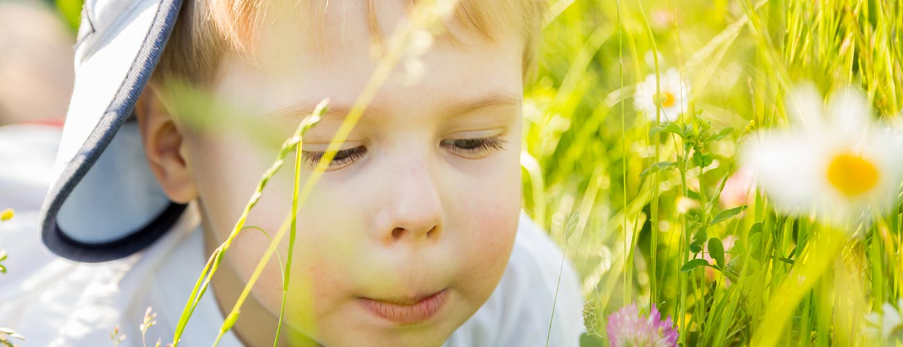 A little boy wearing a hat while looking at a flower, lying in a meadow