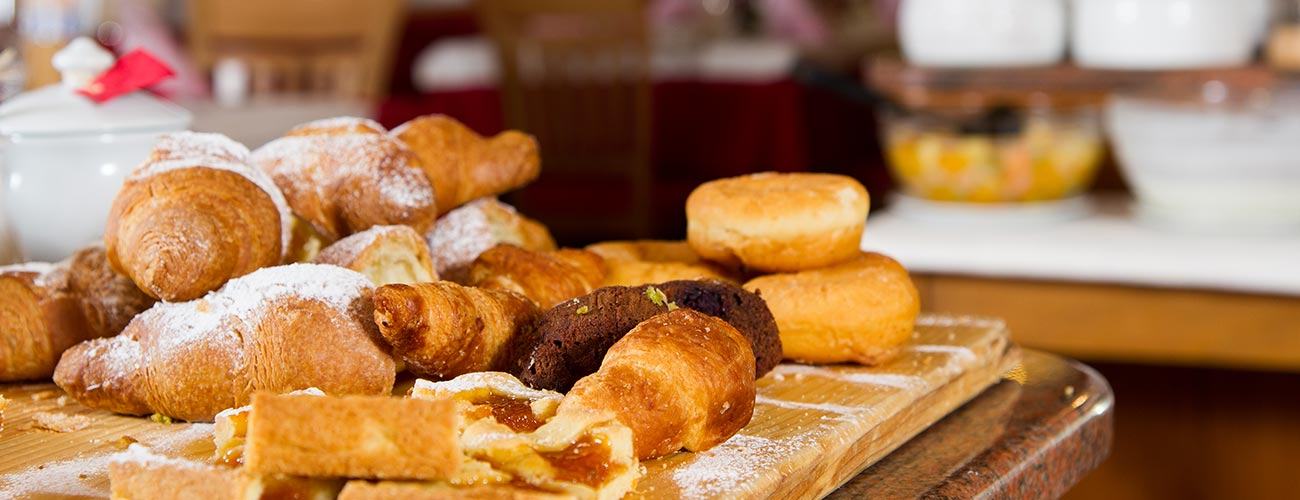 Pastries for breakfast in the Hotel Gran Mugon