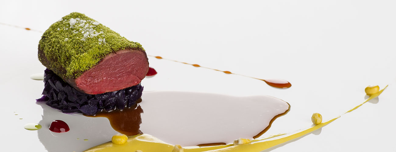 Fillet in herb crust: gourmet creation in the restaurant Lchimpl